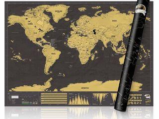 Скретч карта мира черного цвета - 150 лей (новая)