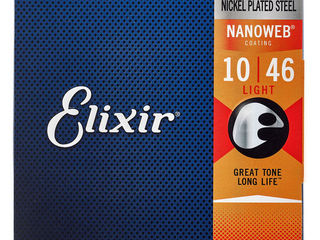 Струны для электрогитары Elixir Nanoweb Light, Super Light