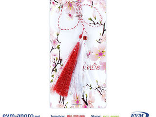Martisor Мэрцишор артикул v31 handmade две кисточки БОЛЬШИЕ полосатая верёвка на открытке