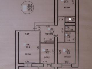 Трехкомнатная квартира в новом доме с. Ержово! 4 эт., в середине дома