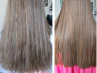 îndreptarea părului cu cheratină.