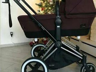 Люксовая коляска Cybex Priam Lux Platinum. В  цвете Mystic Pink, шасси City Light Chrome