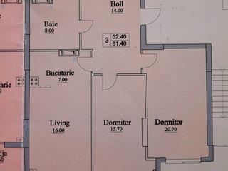 Vând apartament  spațios cu 3 odăi - 81,4m2, variantă albă! Bloc nou, sec. Buiucani