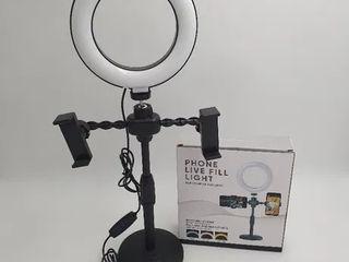 Lampa circulara cu 2 suporturi de telefon / Кольцевая лампа с держателем для телефона