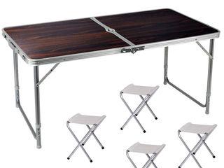 Большой складной стол 120*60 cm + 4 стула. Доставка !! Оплата курьеру при получении