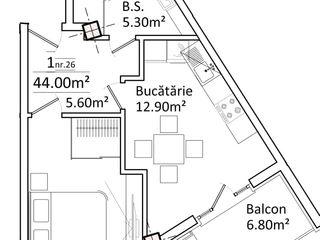 Apartamente cu 1 odaie, centru,700 euro/1m2