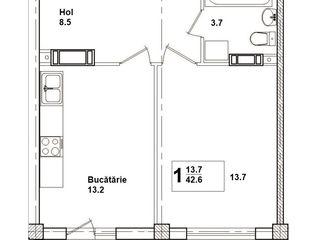Buiucani, 550 euro/ m2 de la dezvoltator, bloc nou, 1 cam, 42 - 44 m2 , zonă de parc
