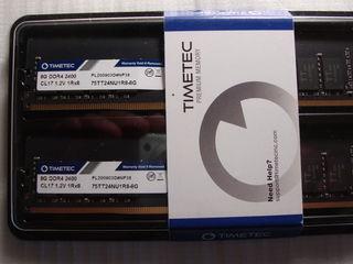 TIMETEC DDR4 16 GB (2x8Gb) 2400 MHz CL17 NOU sigilat. Pret: 1300 lei
