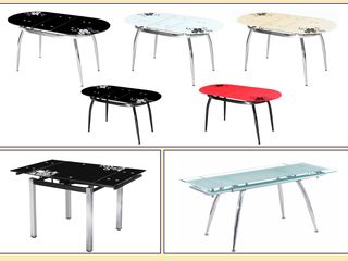 Современные стулья и столы из металла и стекла, обитые эко-кожей. Продажа в кредит!