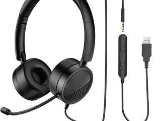 Stereo Casti Cu Microfon Noise Cancelling Mic Headset USB/3,5mm Jack наушники