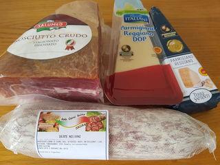 Salam, Parmigiano Regiano,  Prosciutto, ton Rio, ulei de masline, Pellini, Lavazza,bomboane Italia