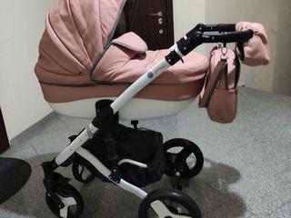 Красивая почти новая колясочка 2 в 1 adamex deluxe alu. эко кожа цвет пудра супер!!