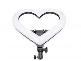 Кольцевая LED лампа 35см для селфи со штативом виде сердца