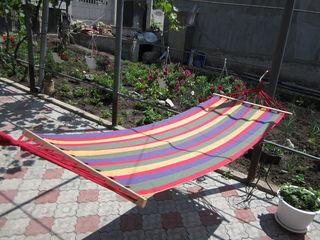 Hamac textil cu suport din lemn, 210x120cm