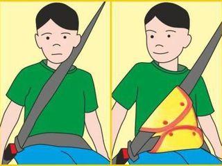 Alternativă scaunului auto si busterului. Adaptor centură siguranță.