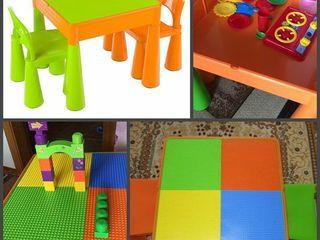 Детский стол, Lego доска, два стула в комплекте Tega Baby Mamut. Бесплатная доставка!