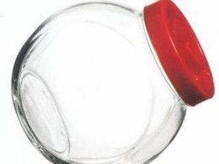 """Банки стеклянные """"НЕВАЛЯШКА"""" для сыпучих продуктов с красной крышкой, б/у."""