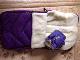 Большие и очень теплые конверты на овчине-в коляску или санки 100см по спинке+Муфта варежки на овчин