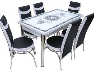 Set MG-Plus Kelebek Tugra White Crom (6 scaune) livrare gratuită ,cel mai bun preț !