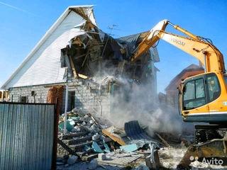 Снос старых построек конструкции сооружений домов заборов вывоз строительного мусора планировка