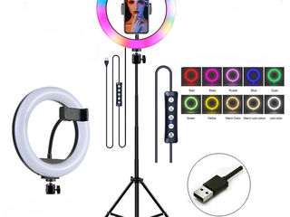 Lampa inelara RGB cu tripeda, Кольцевая лампа с штативом +CADOU