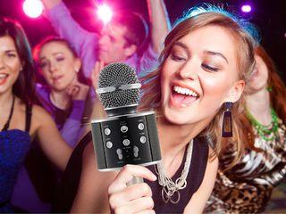 Microfon karaoke WS-858 , Boxa Inclusa, SD Card, USB, AUX Negru