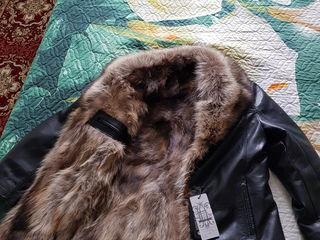 Новая кожаная куртка с мехом волка