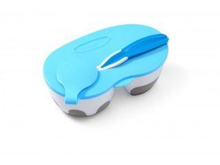Миска двухсекционная с эластичной ложкой (цвет голубой)