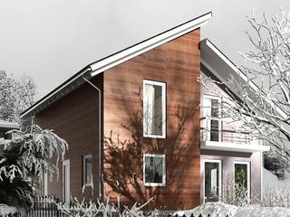 Строительство СИП домов в Молдове. Двух этажный дом с асимметричным фасадом.