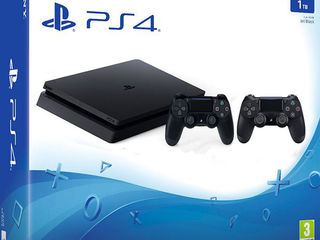 Sony PlayStation 4 Slim (PS4 Slim) 1TB, Jet Black + extra controller DualShock 4 V2. pret: 6499lei