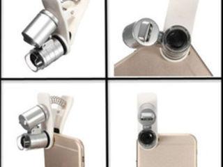 Компактная лупа-микроскоп 60Х, с прищепкой на телефон!