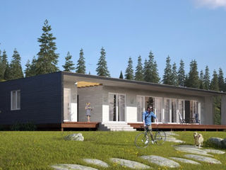 Строительство СИП домов в Молдове. Проект современного загородного дома с отдельной гостевой частью.