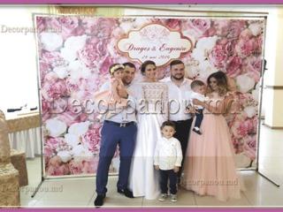 Decor cu panou foto , fotopanou , fotostand la nunta , cumatrie , aniversare , corporativ