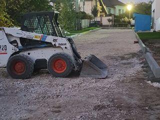 Bobcat s220 +самосвал curațire teren-copaci,iarbă,tulpini,gunoi demolări constructii ,nivelare teren