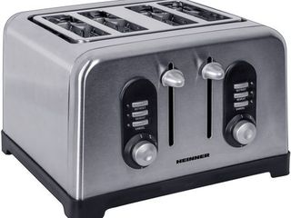 Prajitor de paine heinner htp-bk1400xmc, 1400w, 4 felii, 6 nivele de rumenire, inox