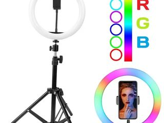 Разноцветная кольцевая LED лампа RGB 26 см. Доставка по Молдове.