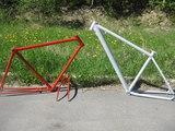 Порошковая покраска велосипедных рам .