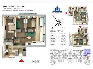 Compania de construcții vinde ap. 3 camere +living 80 m2 , sec.Botanica , Parc , bloc de elită !!
