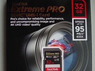 SD SANDISK Extreme PRO, 32 Gb, 128 Gb pentru foto/video, viteza 170 Mb/s,U3, 4K, UHD, NOU, sigilat.