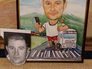 Caricaturi Șarj in acuarela sau creion portrete preț accesibil pictate manual