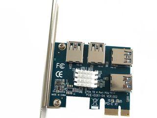 ID-175 - PCI 1 to 4 PCI E express adapter х 4 USB Multiplier Card - 1 Адаптер + 4 Riser Card