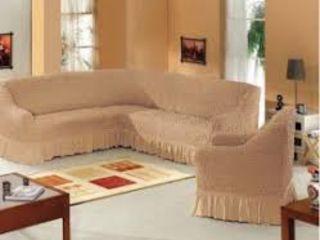 Чехлы на  угловой- диван и кресло - недорого