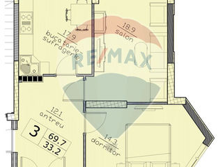De Vanzare apartament 2-camere 69,7m2 White house bloc nou strada Puskin