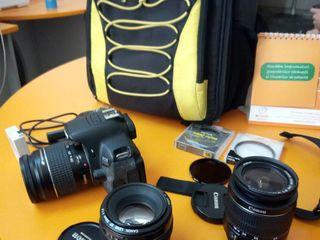 Canon EOS 650D + 2 baterii + 3 obiective bune! Probeg - 7800 !! Pret de doar 7999 MDL! Fara probleme