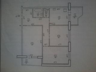 Vind apartament cu 3 odai. Etajul 2 din 14.