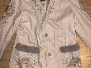 Jacheta piele naturala cu blana nurca / кожанное пальто с мехом норки