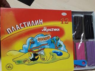 """Распродажа-50% пластилин """"Мультики"""" 6 цветов, 120 г в картонной упаковке 10 лей."""