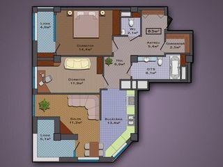 Vind apartament 3-odai, 82m2, 46500€ Bloc Nou in Centru