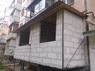 Ремонт балконов, расширение любых серий, хрущёвка, кладка балконов из газоблоков, остекление