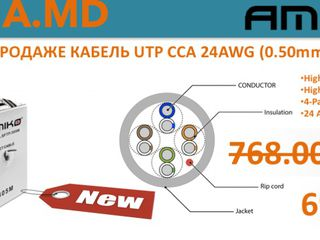 HQ CCA UTP CAT5e 24AWG (0.51mm) network cable (цена за 305m)